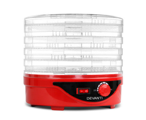 Devanti 5 Tray Food Dehydrator - Red - OUT OF STOCK