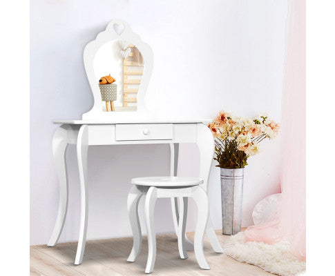 Kids Dressing Table & Stool - White - OUT OF STOCK
