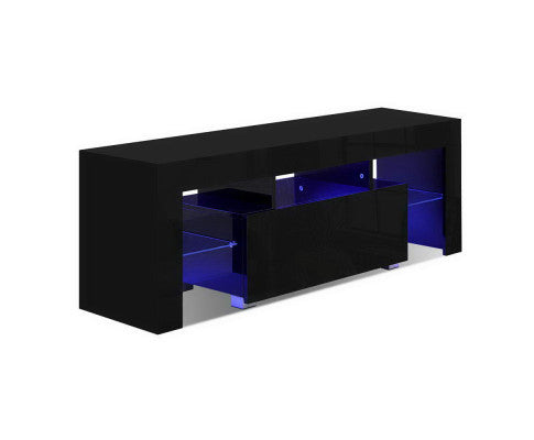 LED Light 130CM Black Gloss TV Unit