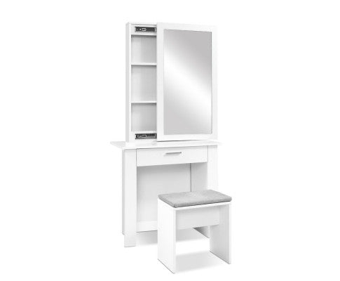 Dressing Table with Cabinet & Stool - White
