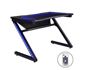Carbon Fiber Gaming Desk - Black with LED Effects
