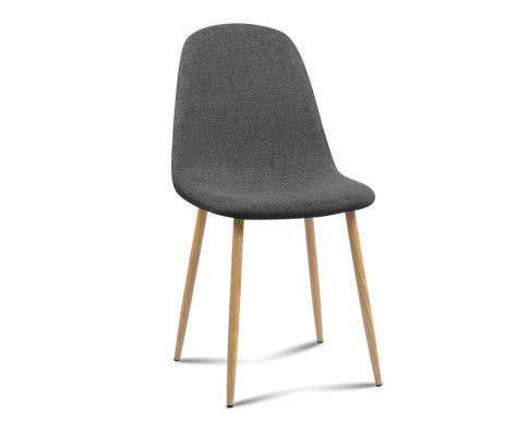 4 x Adamas Fabric Dining Chairs - Dark Grey