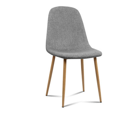 4 x Adamas Fabric Dining Chairs - Light Grey