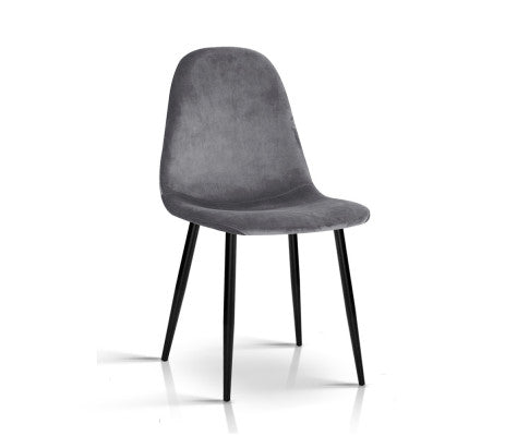 Set of 4 Sleek Velvet Dining Chairs - Dark Grey