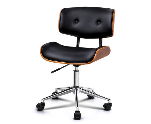 Executive Walnut Office Chair - Black