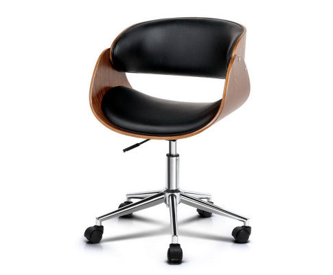 Wooden Curved Office Chair - Black