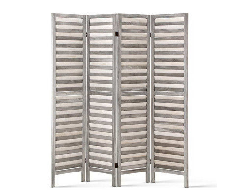 Chic 4 Panel Wooden Room Divider - Grey