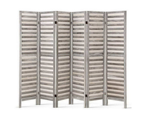 Chic 6 Panel Wooden Room Divider - Grey