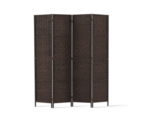 4 Panel Room Divider - Brown Rattan