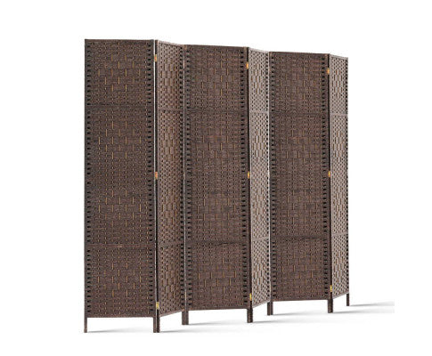 6 Panel Room Divider - Brown Rattan