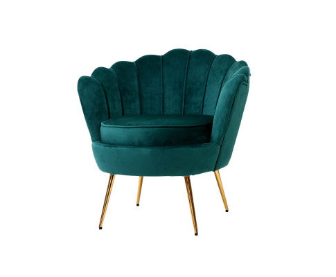 Velvet Shell Lounge Chair - Green