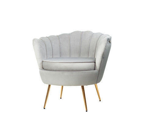 Velvet Shell Lounge Chair - Grey