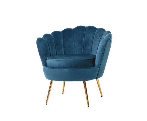 Velvet Shell Lounge Chair - Navy