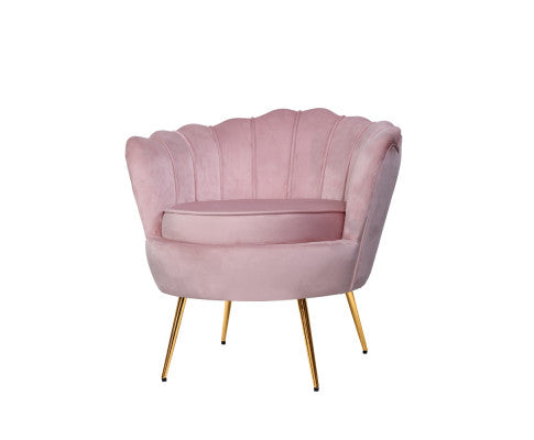 Velvet Shell Lounge Chair - Pink