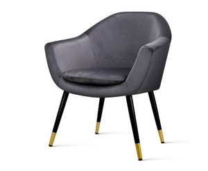 Retro Velvet Lounge Chair - Grey - BACK IN STOCK!!