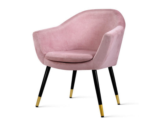 Retro Velvet Lounge Chair - Pink