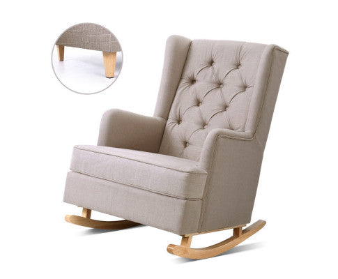 Convertible Rocking or Stationary Armchair - Beige