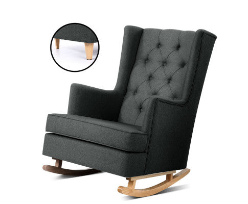 Convertible Rocking or Stationary Armchair - Charcoal