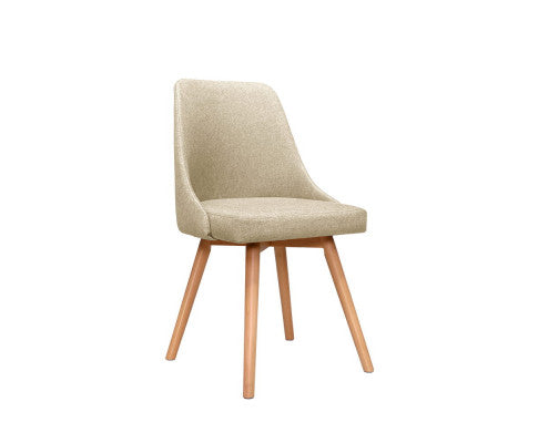 2 x Beech Wood/Beige Dining Chairs - BACK IN STOCK!!