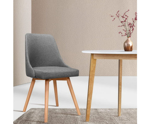2 x Beech Wood/Grey Dining Chairs