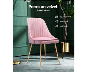 2 x Velvet Pink Dining Chairs - OUT OF STOCK