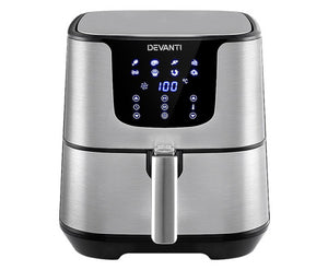 Devanti 7L Air Fryer with LCD Display - Stainless Steel