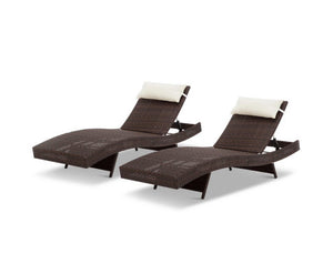 Set of 2 Wicker Sun Lounges - Brown