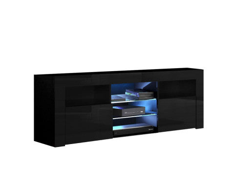 LED Light 145CM Black Gloss TV Unit