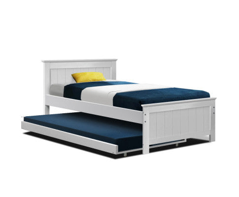 Wooden Trundle Bed - King Single