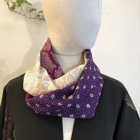 Snood purple shibori and wave