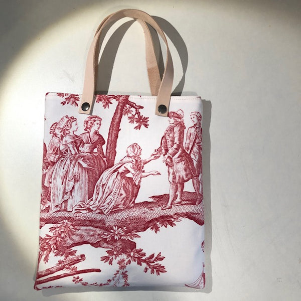 Toile de Jouy Bag with leather handle, White