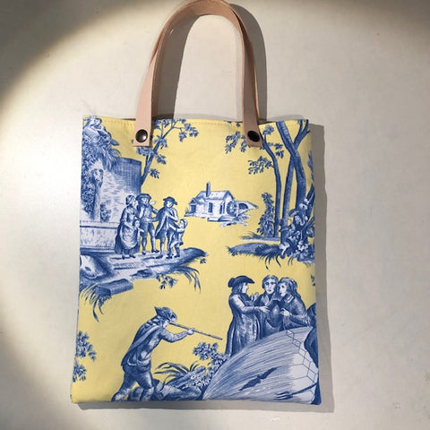 Toile de Jouy Bag with leather handle, Yellow