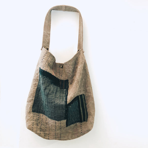 Natural dyed bag with BORO