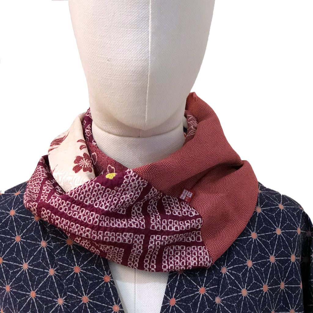 Snood (violet, bordeaux et blanc)