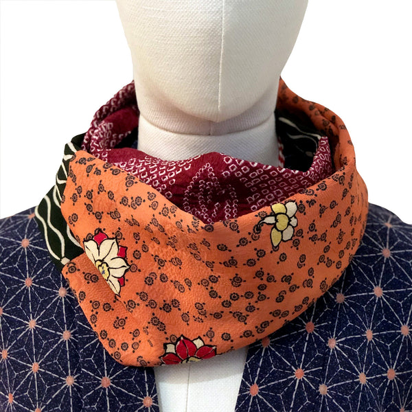 Snood (orange, bordeaux et noire)