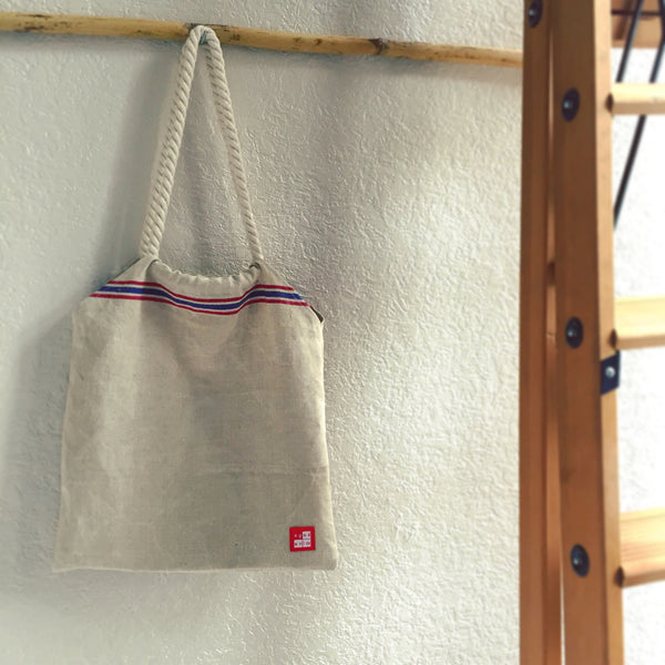 Vintage linen bag-red&blue