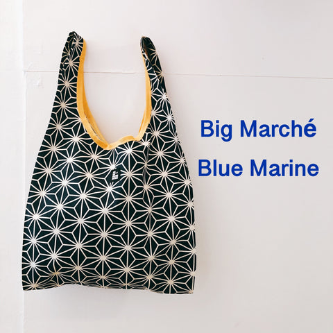 Big Marché Linen leaves Blue Marine