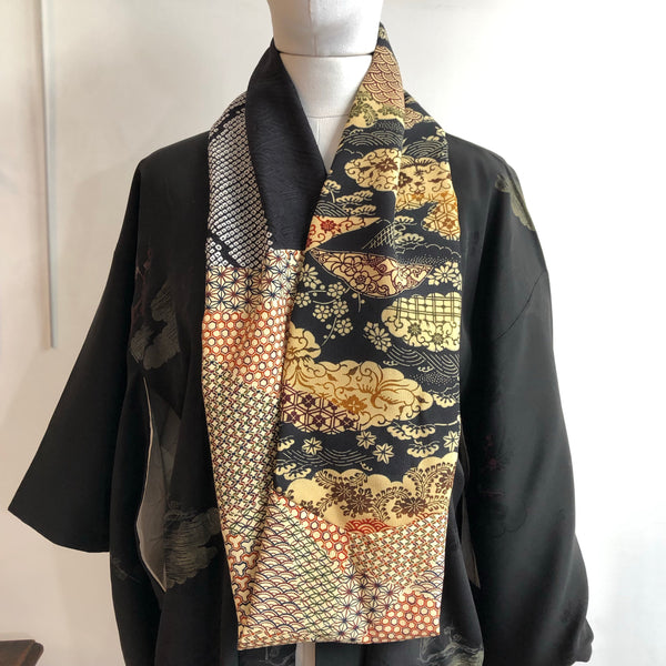 Snood Navy bingata & black shibori