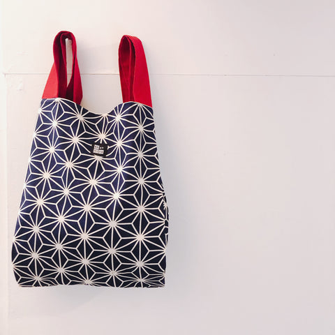 Marché Bag Linen leaves Navy x Red