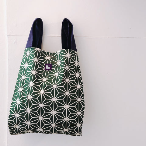 Marché Bag Linen leaves Green tea x Navy