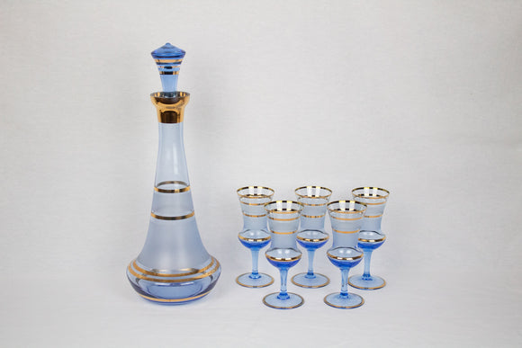 Midcentury Blue and Gold Decanter + Glasses