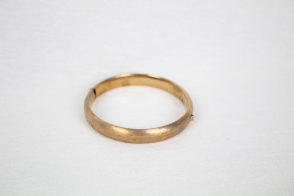 Hollow Brass Bangle with Press Closure