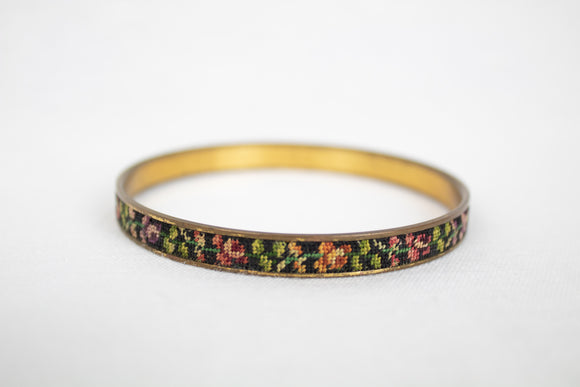 Brass Bangle with Floral Needlepoint