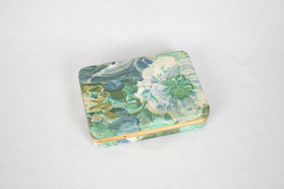Midcentury Blue + Green Floral Ring Box