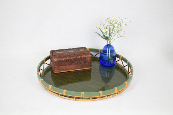 Green Wood and Rattan Round Tray