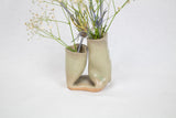 Sage Folded Ceramic Double Bud Vase