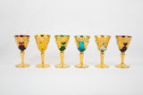 Colorful Venetian 24k Hand Painted Murano Cordial Glasses (set of 6)
