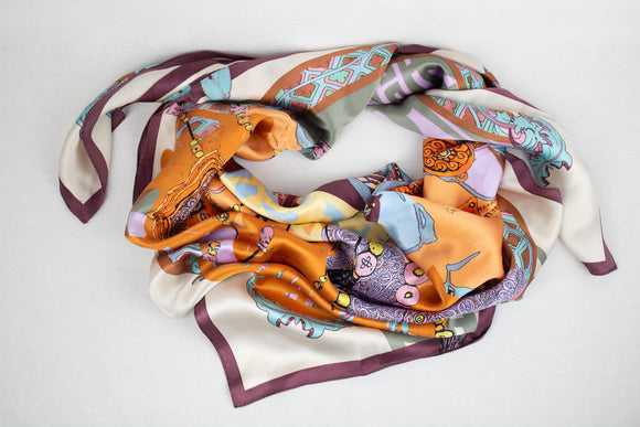 Funky Detailed Silk Scarf