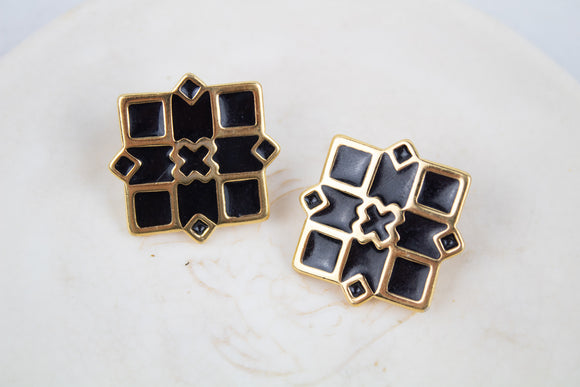 Black and Gold 80s Stud Earrings