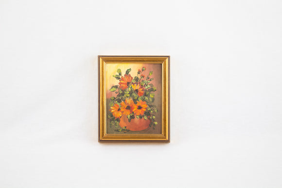 Miniature Framed Floral Oil Painting
